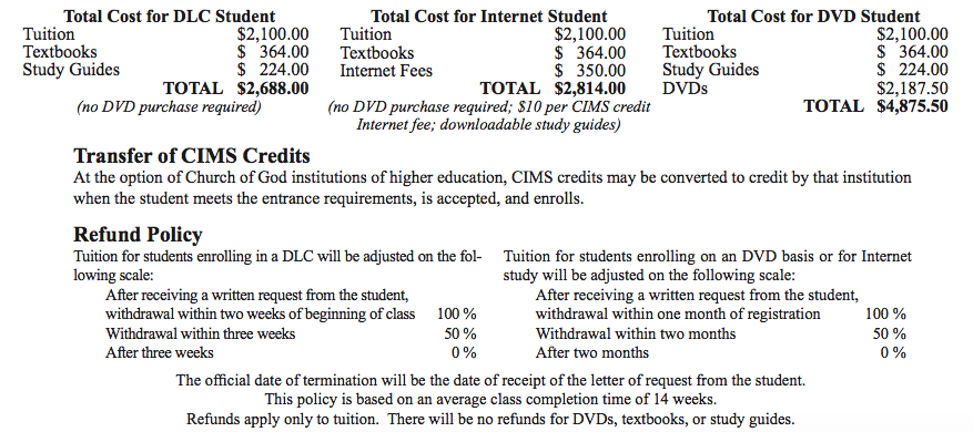 CIMS Course Costs